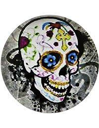 Morella unisex click-botón calavera vidrio Art imagen
