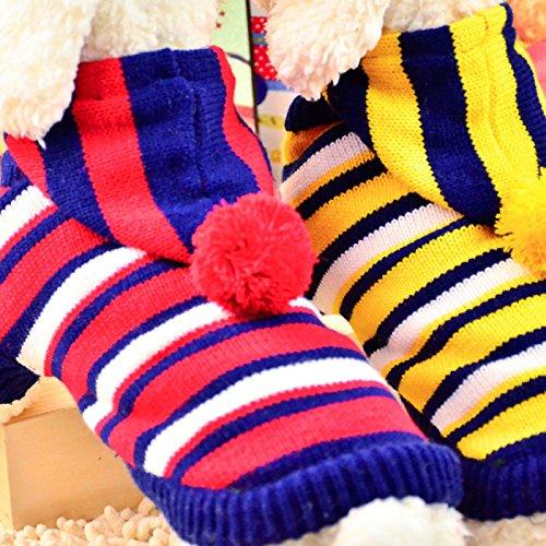 Calli Chat de chien d'animal de compagnie de mode chandail rayé en couleur double avec l'hiver de chapeau tissu chaud