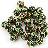 Jaz's 6 Pcs Handmade Golden-Red-Green Colour Shape Meenakari Designer Beads-Handmade Enameled Brass Beads Jewellery Making Jewellery Supplies-Findings Size 10mm, Hole Size 1.5mm
