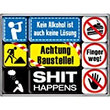 Nostalgic-Art 83044 Achtung - Achtung Baustelle, Magnet-Set (9teilig)