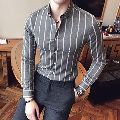 Camicie da uomo a righe verticali manica lunga slim trendy handsome casual outdoor primavera e autunno sezione sottile ( color : gray , size : m )