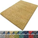Teppich Luxury | viele Größen | flauschig, modernes Shaggy / Hochflor Design | für Wohnzimmer, Schlafzimmer, Jugendzimmer (gelb, 160x160 cm)