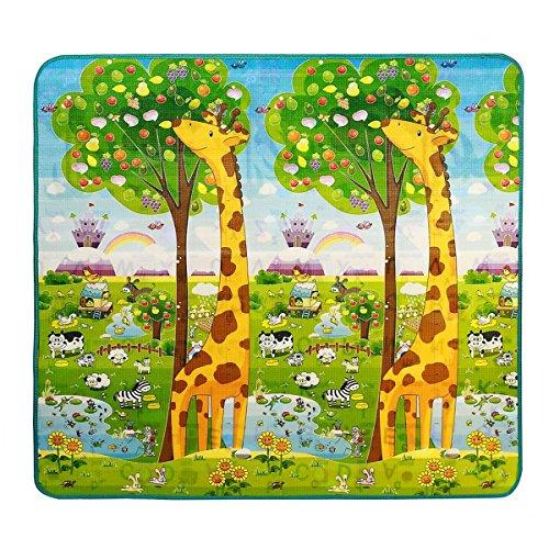 Cusfull Alfombras de Juego Alfombra Infantil para Jugar Niños y Bebés Doble Caras Impermeable Diseño de Animal y Alfabeto 200X180CM