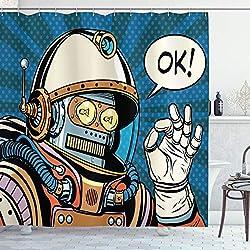 ABAKUHAUS Moderne Rideau de Douche, Bandes Dessinées Futuristes Aiment Robot au Combinaison Spatiale Aux Illustrations, Impression Tendance sur Tissu, 175 x 200 cm, Multicolor