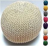 Millhouse 1 Strick Pouffe Fußbank Bean Gefüllt Baumwolle für Wohnzimmer oder Schlafzimmer (60 cm, Sahne)