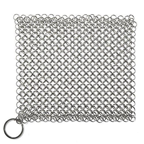 Edelstahl Reinigungswerkzeug für Gusseisen Pan Pot, Ring Kette Scrubber Brush, Pan Cleaner