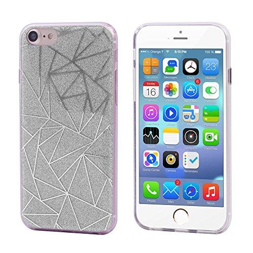 iProtect Apple iPhone 7, iPhone 8 biegsame TPU Soft Case Hülle Glitzer Pailletten Design in Silber asymmetrisch silber