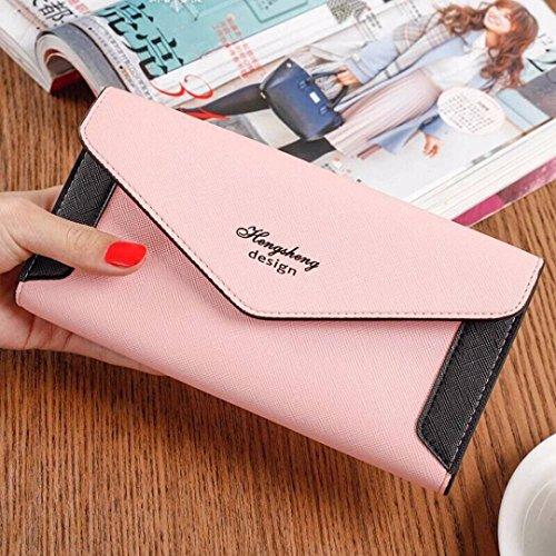 Tefamore Frauen Verschlussspange Coin Purse lange Brieftasche Card Inhaber Handtasche (Blau) Rosa