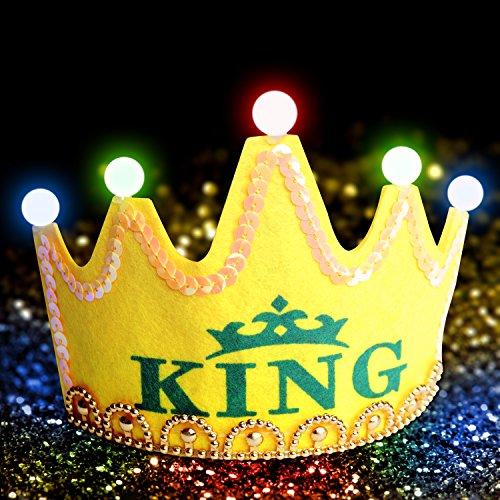 Fxexblin LED Krone, Geburtstagskrone Kinder Königskrone/Prinzessinnen-Krone; Tiara mit bunter LED-Beleuchtung; erhältlich in Verschiedenen Farben und mit unterschiedlicher Aufschrift