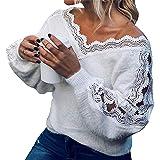 WangsCanis Pull Décontracté pour Femme Automne Hiver T-Shirt en Tricot Couleur Unie Imprimé Dentelle à Manches Longues Col V