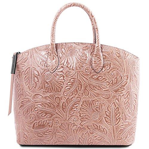 3e544e4a355e1 Tuscany Leather Gaia Shopper Tasche aus Leder mit Blumenmuster Grey Nude