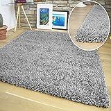 Shuja Teppich - Shaggy Hochflor Langflor Teppiche in versch. Farben & Größen: (160x230 cm, Grau)