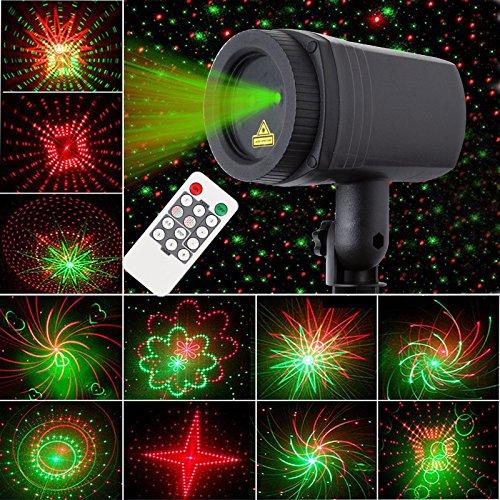 Rot+Grün Statisch Projektor mit Fernbedienung, Farbwechsel Outdoor Strahler Aluminium Dimmbar für Garten, Hof, Hinterhof, Park Weihnachten, Halloween, Thanksgiving Dekoration