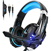 PS4 Headset, INSMART PC Gaming Headset Over-Ear Gaming Headphones with Mic LED Light…