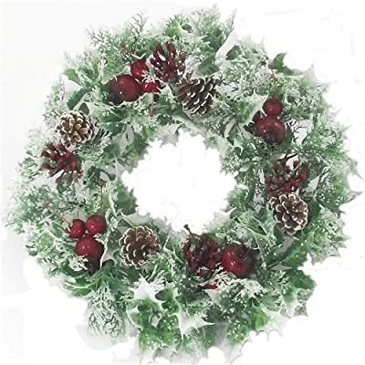 "16"" inch Artificial Poinsettia / Holly Christmas Wreath for indoors and outdoors"