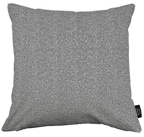 McAlister Textiles Herringbone Tweed   Kissenbezug für Sofakissen in Anthrazit Grau   50 x 50cm Größe   traditionelles gewobenes Fischgräten-Muster   Deko Kissenhülle für Sofa, Bett, Couch - Grau Fischgrät Wolle