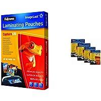 Fellowes 5307302 Pochettes de plastification A5 125 microns par 100 & 5307201 - Pack de 100 Pochettes de plastification…