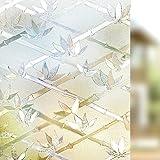 Rabbitgoo®Pellicole Adesive Per Finestre Vetri Pellicola Decorativa Adesivi Vetri90cm x 200cm-Bambù e Fiori Decorativo,Anti-UV,Controllo di Calore