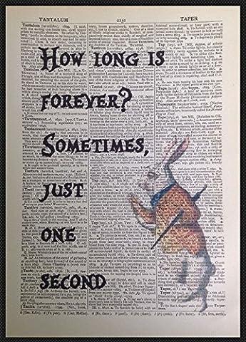 Affiche Dictionnaire avec citation en anglais How Long Is Forever Alice au pays des merveilles