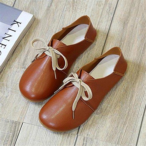 Longra Donne Scarpe comode Luce rotonda Lace Up Granny Flats Shoes Marrone