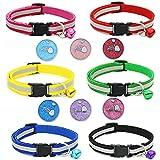 Homankit Reflektierende Verstellbar Hundehalsband mit Glöckchen für Kleine Hunde - 6 Größen/6 Farben