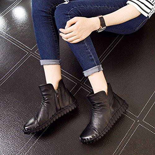 Vogstyle Femme Bottes Pure Couleur en Cuir Vintage Handmake Style-2 Noir