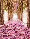 A.Monamour Rosa Romantische Kirschblüten Blumen Bäume Straße Avenue Landschaft Fotografie Hintergründe 5X7Ft Vinyl-Gewebe