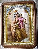 Cuadro Virgen del Carmen de azulejos enmarcado.
