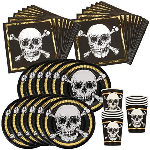 COM-FOUR® 48-teiliges Totenkopf Piraten-Party-Geschirr Set für Halloween, Geburtstag und Motto-Party (048-teiliges - Halloweenset)