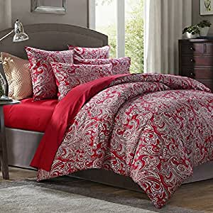 fadfay rot paisley betten set marke 100 satin baumwolle bettw sche single queen king size. Black Bedroom Furniture Sets. Home Design Ideas