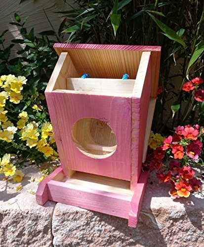 Vogelfutterstation-BEL-X-VOFU1K-pink002 XXL PREMIUM Vogelhaus Vogelfutterhaus Rot lachsrot behandelt pink rosarot Nistkasten für Nützlinge im Garten Marienkäfer, als Ergänzung zum Meisen Nistkasten Meisenkasten oder zum Insektenhotel, Futterstation für Vögel, Vogelhäuschen / Vogelvilla zum Hängen und Aufstellen von BEL - 3