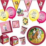 HHO Bibi und Tina Party-Set 85tlg. für 12 Kinder : Teller Becher Servietten Einladung Geschenkboxen Luftballons Wimpelkette