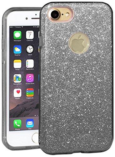 EGO ® Glitzer Schutzhülle + Panzerglas für iPhone 7 Plus, Pink Back Case Bumper Glänzend Transparente Handy Cover Strass Silikon TPU Luxury Lipgloss Schwarz