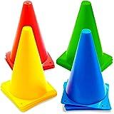 12 Cônes de Signalisation Multicolores, Cônes de Circulation, Cones de Sport, 23cm - Plastique Durable de Haute Qualité…