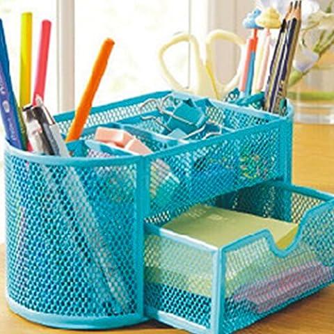 Candora Schreibtisch-Ordnungssystem aus Drahtgeflecht, mit Stifthalter, Metall, mit 9 Fächern blau (Pad Riser Kit)