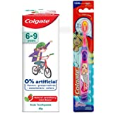 Colgate Toothpaste for Kids (6-9 years), Natural Strawberry Mint Flavour, 0% Artificial- 80g with Colgate Barbie Extra Soft T