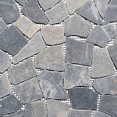 Mosaik Fliese Marmor Naturstein schwarz Bruch Ciot Neromarquina für BODEN WAND BAD WC DUSCHE KÜCHE FLIESENSPIEGEL THEKENVERKLEIDUNG BADEWANNENVERKLEIDUNG Mosaikmatte Mosaikplatte