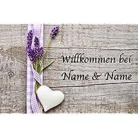 Fußmatte Abstreifer Schmutzfangmatte Lavendel im Korb 50x70 cm waschbar