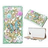 Evtech (tm) Schmetterling Colorful Strass Bling Kristall Glitter-Buch-Art-Folio-PU-Leder-Mappen-Kasten mit Handtasche Handyhalter & Kartensteckplätze für Samsung Galaxy S6 Edge