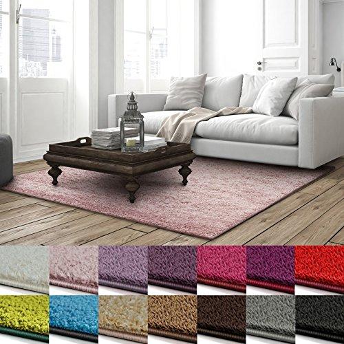 casa pura Shaggy Teppich Barcelona | weicher Hochflor Teppich für Wohnzimmer, Schlafzimmer, Kinderzimmer | GUT-Siegel & Blauer Engel Größen | 240x340 cm | Rose