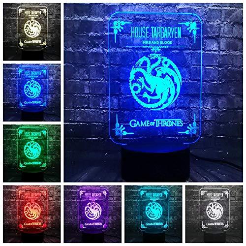 3D Nachtlicht New Game Of Thrones Haus Targaryen Feuer und Blut Logo Led Novel Decor Tisch Stimmung Nachtlicht Urlaub Versorgung Lava Freunde Gift-Remote_7_Color_Only_White_Color