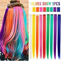 Accesorios para el cabello con arco iris Muñequera con clip Multicolor Destacados Extensiones de color recto