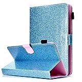 HereMore Universal Hülle Glitzer für 9-10.1 Zoll Tablet - Stand Folio Case Schutzhülle für iPad 9.7 2018/iPad Air, Samsung Galaxy E 9.6/Tab S2 9.7, Asus ZenPad 10, Lenovo Tab3 10 Plus/Tab 2 A10-70, Huawei MediaPad T3 10 und Alle 9-10.1