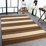 Teppich Modern Flachgewebe Streifen Sisal Optik Designer Teppich Beige Creme, Grösse:200x280 cm