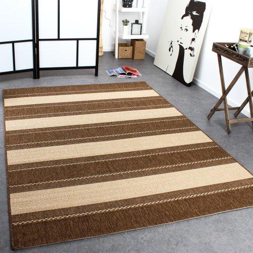 Paco Home In- & Outdoor Teppich Modern Flachgewebe Streifen Sisal Optik Beige Creme, Grösse:80x200 cm