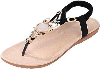 Footful Women Summer Bohemia Flat Sandals Beach Thong Shoes Black 36