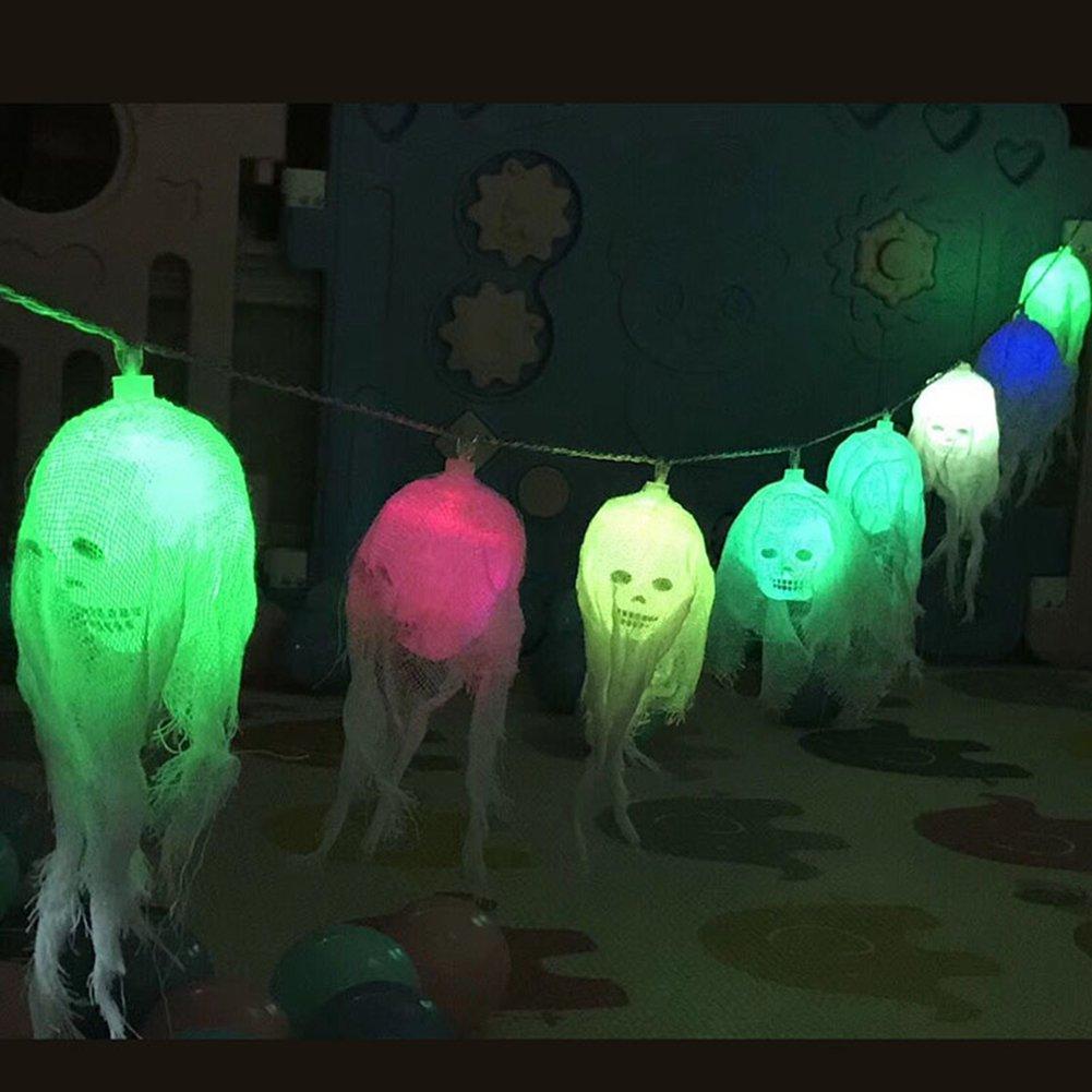 Weihnachten decoratie licht, morbuy 10LED schedel lichtketting sfeer schedel LED lampen batterijvoeding verlichting bonte lampen decoratie Perfect voor Halloween-decoratie
