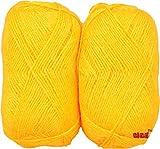 #10: M.G ENTERPRISE Rosemary yellow (200 gm) Wool Hank Hand knitting wool/Art Craft soft fingering crochet hook yarn, needle knitting yarn thread dyed
