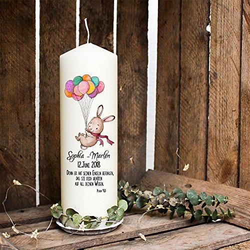 ilka parey wandtattoo-welt Taufkerze Kerze zur Taufe oder Geburt Kommunionkerze Hase Häschen und Ballons wk02