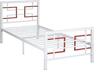 Aingoo Bettgestell mit Lattenrost Metallbett Bettrahmen mit Festen Vierkantrohren für Erwachsene und Kinder Schlafzimmer, 90x190 (cm), Weiß